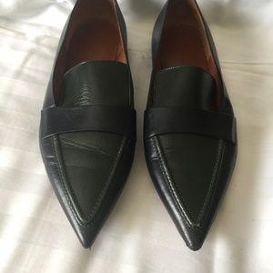Céline Black Patent Pointy Loafers Flats